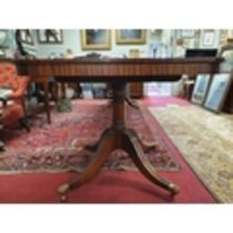 A really good Regency style three pillar Boardroom Table on tripod supports with two leaves. Fully
