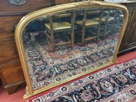 A good Gilt arched Overmantel with bevelled glass. W 128 x H 92 cm approx.