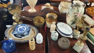 A really good quantity of 19th Century Items to include a pair of heavy brass pans, a pair of