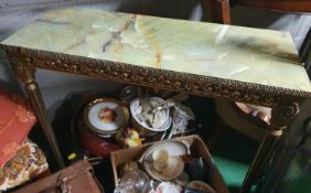 A Gilt Console Table with marbleized top.