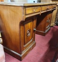 A really good and unusual Arts & Crafts Mahogany Desk. 134 x 53 x H 73 cms approx.