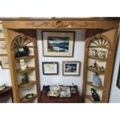 A Superb Pine alcove Display Cabinet consisting of two alcove corner open display cabinets along