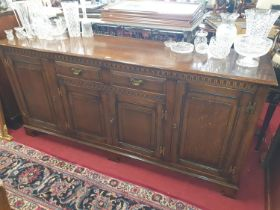 A really good Oak Old Charm four door Side Cabinet. W 191 x D 51 x H 88 cm approx.