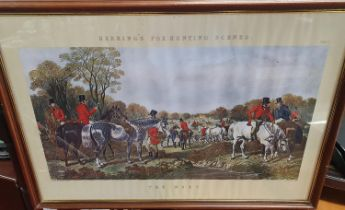 A set of four Herrings Fox Hunting Scenes along with other pictures. 73 x 52 cm approx.