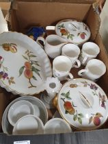 A good quantity of Worcester Evesham pattern Dinnerwares along with Masons, Belleek and other items.