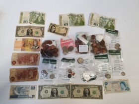 A quantity of US and Irish Coinage along with World Notes.