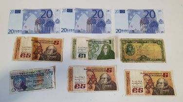 A quantity of Irish Bank Notes and Euro Explanations.
