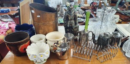 A mixed lot of a large quantity of Ceramics etc., to include pots, silver plate coffee and tea pots,