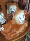 Two Staffordshire style Lions. H 25 cm approx.