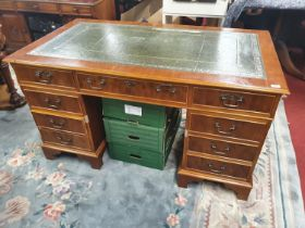 A really good modern Pedestal desk. W 136 x 76 x H 76 cm approx. (damage to leather top).
