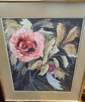 A good Mixed Media Panel with still life of a butterfly and flowers along with a still life