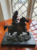 A good Bronze Figure of a Military Man on horseback on a marble base. 32 x 16 x H30cm approx.