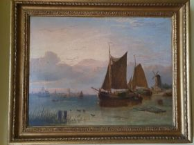 Attributed to George Stanfield Walters. 1838 - 1924. A Dutch Harbour scene, Oil on Canvas with a