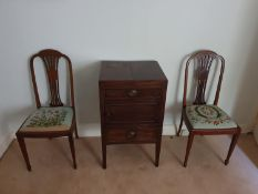 A lovely pair of Edwardian Mahogany Inlaid chairs with tapestry seats. L96 x D42 x W43cm approx.