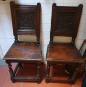 A really good pair of 19th Century Oak Hall Chair with highly carved backs and solid seats. H92 x