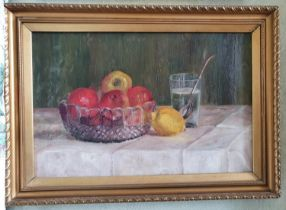 Post Impressionist School. Early 20th Century. An Oil on Canvas still life with apples in a glass
