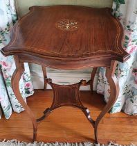 A late19th Rosewood Serpentine shaped Side/Centre Table with an inlaid top. H67 x D49 x W49cm