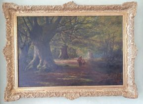 Francis Muschamp. 1851-1929. An Oil on Canvas of a Woman and her Child walking in a woodland. Signed