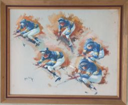 An Oil on Board by Peter Curling b 1955 'Collage of Jockeys up ( Pat Eddery)'. Signed LR. 40 x
