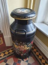 A lovely pair of early 20th Century Chinoiserie painted miniature Churns. H 72cm approx.