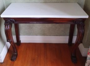 A good early 19th Century Rosewood Marble topped Side Table, possibly Irish, with carved frieze
