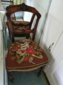 A 19th Century highly carved Walnut single Chair with beadwork seat. H88 x D46 x W46cm approx.