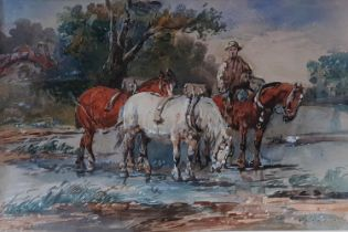 A J Melville 1855 - 1904. Watercolour of a man on horse back with pack horses. 25 X W36cm approx.