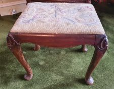 A 19th Century Stool with tapestry seat. 49 x 38 x H42cm approx.