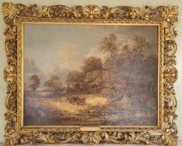 John Paul. 19th Century Norfolk School. An Oil on Canvas of a horse drawn logging cart on a path