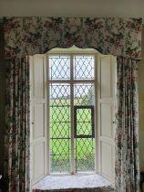 A good set of four very large double lined Curtains with floral rose decoration to fit windows and