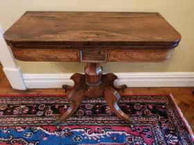 A Magnificent Regency Rosewood and Brass inlaid Foldover Card table on a moulded platform base and