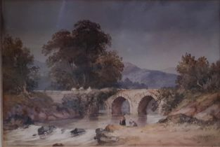 Alfred William Hunt 1830-1896. A pair of 19th Century Watercolours of country scenes. 19 x W28cm
