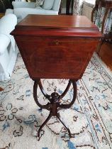 An Edwardian Mahogany Inlaid Sewing Box on shaped stand. 32 x 27 x H72cm approx.