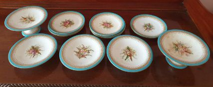 A part set of 19th Century Royal Worcester Plates with hand painted Still life decoration. Five