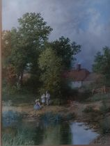 A 19th Century Watercolour of Children beside a pond. Signed A Lane LR. 31 x 25cm approx.