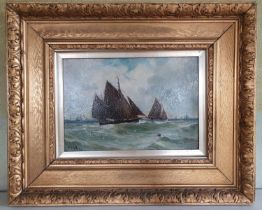 William Fleming Vallance. 1827-1904. An Oil on Board of a Seascape with sailing boats offshore.