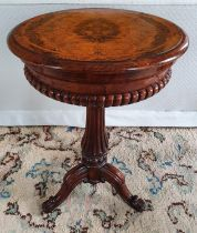 A Fabulous Walnut Inlaid oval Work Box on stand with highly reeded outline on turned carved