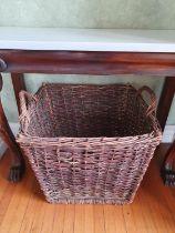 A good heavy Rush Log Basket. 52 x 68 x H50cm approx.