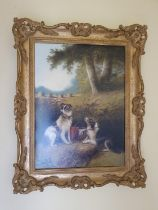 Edward Armfield (1817-1896). An Oil on Board. Hunting Dogs waiting for lunch in a field. Signed