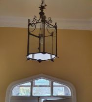 A really good Brass Hall Lantern with swagged top. Drop 65 x Diam32cm approx.