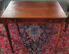 Withdrawn. A neat Georgian Mahogany single drawer Side Table on turned supports. H73 x D44 x W74