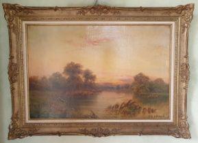 Arthur De Breanski. An Oil on Canvas of a sunset river landscape. Signed LR. 51 x 76cm approx.