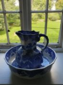 A very large Masons Ironstone Blue and White Jug and Bowl. H28 x Diam40cm approx.
