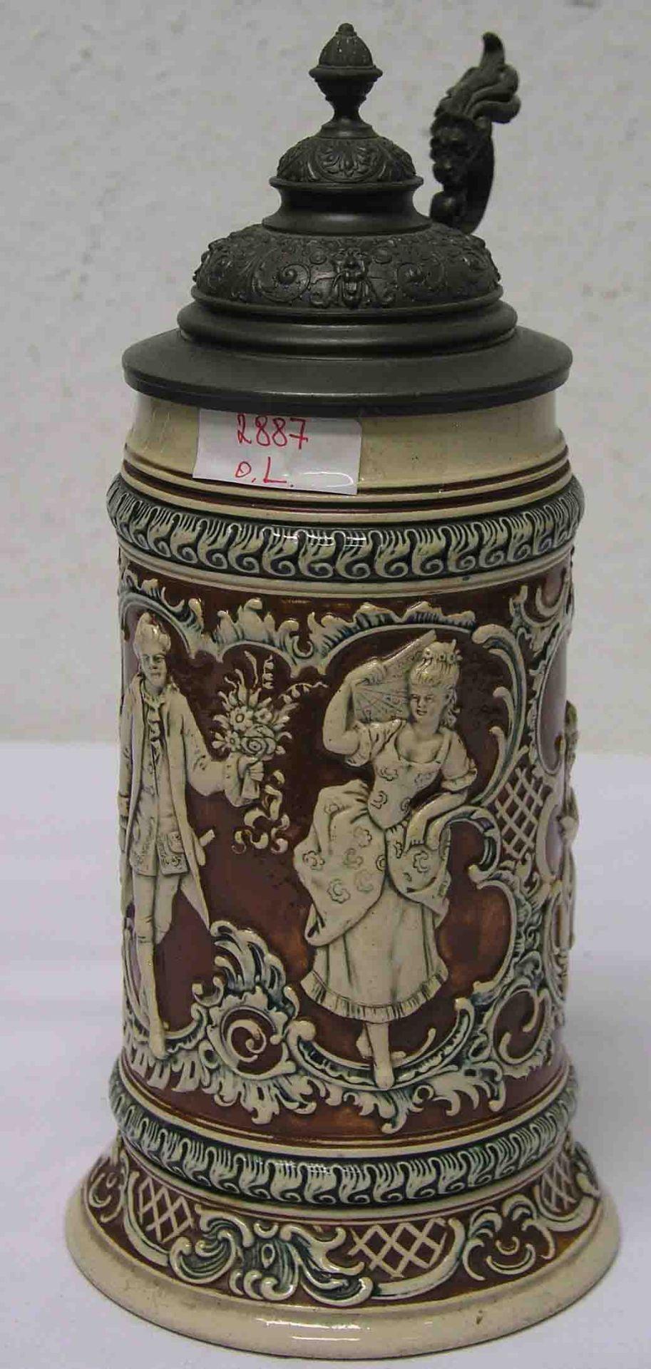 Bierkrug. Steinzeug, 19. Jh., 1 Liter.