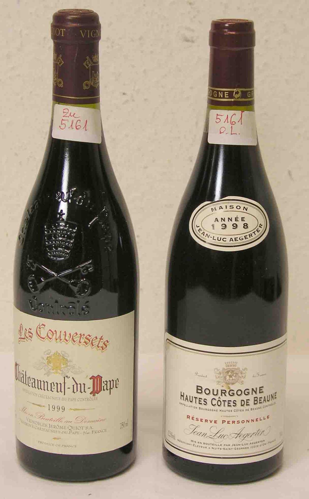 """Zwei Flaschen Rotwein: """"Bourgogne"""
