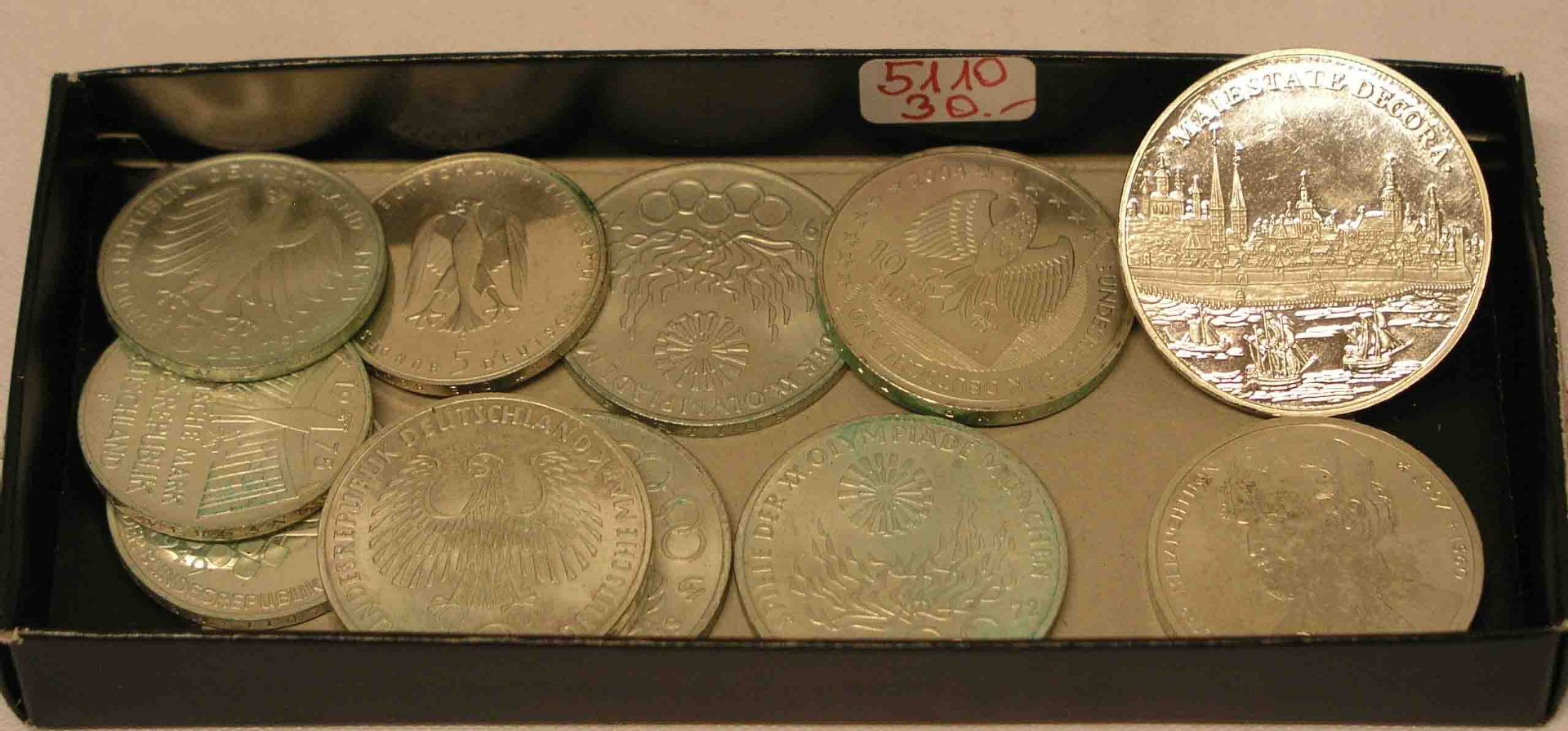 Posten Münzen BRD, 11 Stück. Dabei: 4