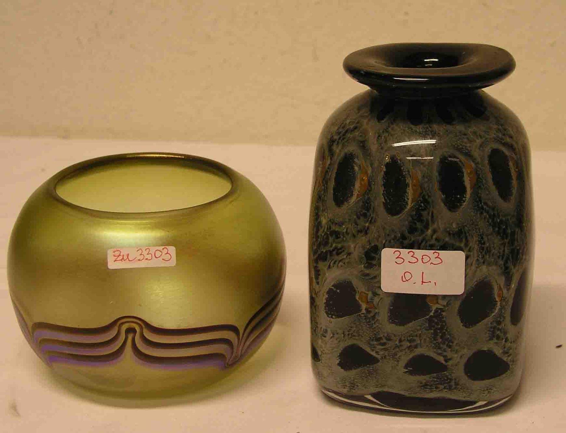 Designier Vase. Pfauenauge, signiert
