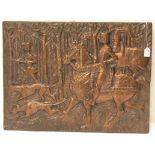 Jagdszene. Geprägtes Kupferblech, 29 x