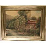 """Haus am Waldrand"". Öl/Lwd., 58 x"
