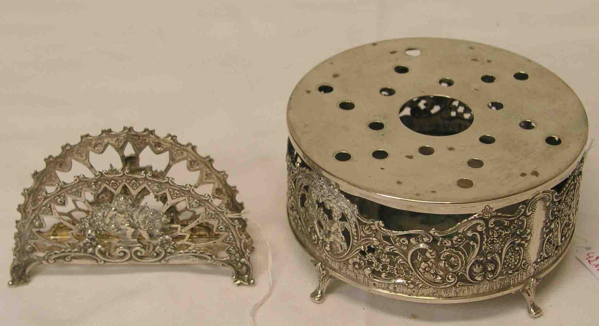 Serviettenbehälter, Silber und